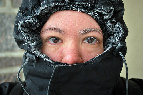 You might want to take a page from this woman's book and bundle up today - temperatures are only reaching into the mid-teens with wind-chills below zero.