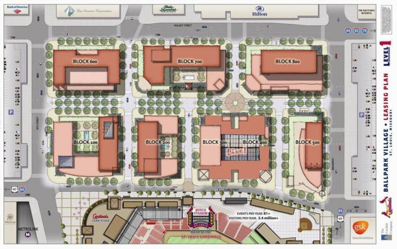 A view of the plans for the entire area of Ballpark Village.