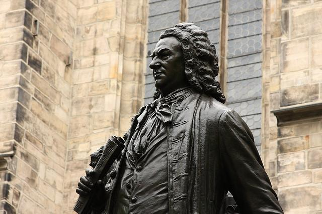 A closer view of a statue of composer Johann Sebastian Bach in Leipzig, Germany. in