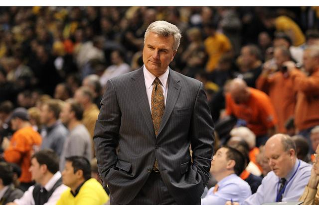 The University of Illinois has fired head men's basketball coach Bruce Weber after a 17-15 season that included a 2-12 finish. Weber is shown here on Dec. 22, 2011 during the annual Braggin' Rights game against the University of Missouri.