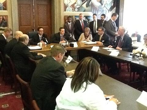 House and Senate budget conferees meet briefly Thursday, 5-3-2012, at the Mo. Capitol.