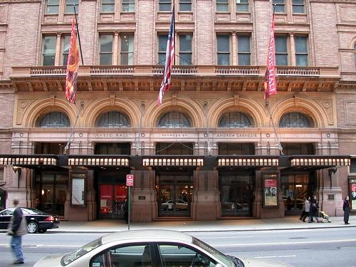 An exterior view of Carnegie Hall in New York City.