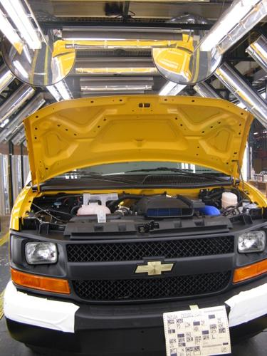 A Chevrolet Express van nears completion on the assembly line in Wentzville, Mo. in 2009. Today plans were announced to expand the facility.