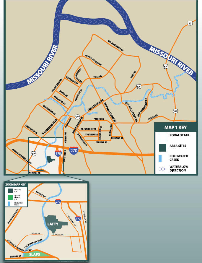 A map of the Coldwater Creek area.
