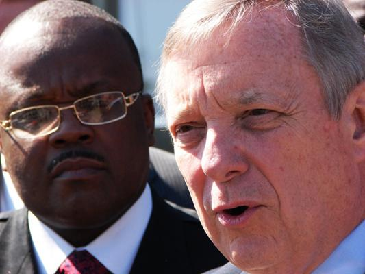 Sen. Dick Durbin, D-Ill. (at right) speaking outside Mt. Paran Missionary Baptist Church in East St. Louis, Ill. on April 11, 2012. Also pictured at left is Dr. Zachary Lee.