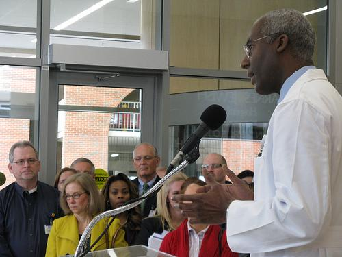 Dr. Melvin Blanchard speaks at the dedication ceremony of the new outpatient center at Barnes-Jewish Hospital in St. Louis on March 8.
