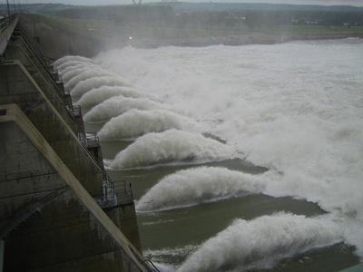 Gavins Point Dam in South Dakota releases 150,000 cubic feet per second of water June 14, 2011. Releases from the dam and others in the area were slowed to try to help with flooding of the Missouri River.