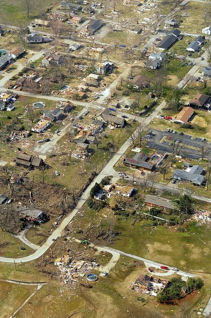 An aerial view of the devastation of Harrisburg, Ill. after a tornado ripped through the small town on Feb. 29.