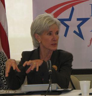 US Department of Health and Human Services Secretary Kathleen Sebelius in St. Louis today.