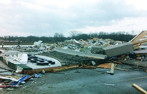 Severe weather destroyed a Shopping Center in Harrisburg, Ill. on Feb. 29, 2012.