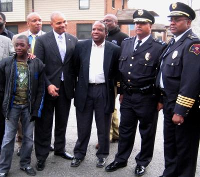 East St. Louis Mayor Alvin Parks Jr., third from left, with city personnel.