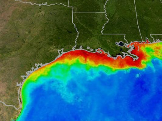 """This image shows water quality changes in the Gulf of Mexico. Reds and oranges represent high concentrations of algae and river sediment. Under certain conditions excessive algal growth can result in a """"dead zone"""" of low oxygen."""