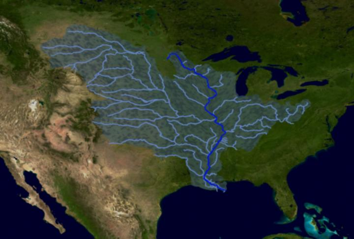 An illustration of the flow of water from tributaries in the middle of the United States, down the Mississippi River, and into the Gulf of Mexico. Pollutants impacting the health of the River and Gulf can originate far inland.