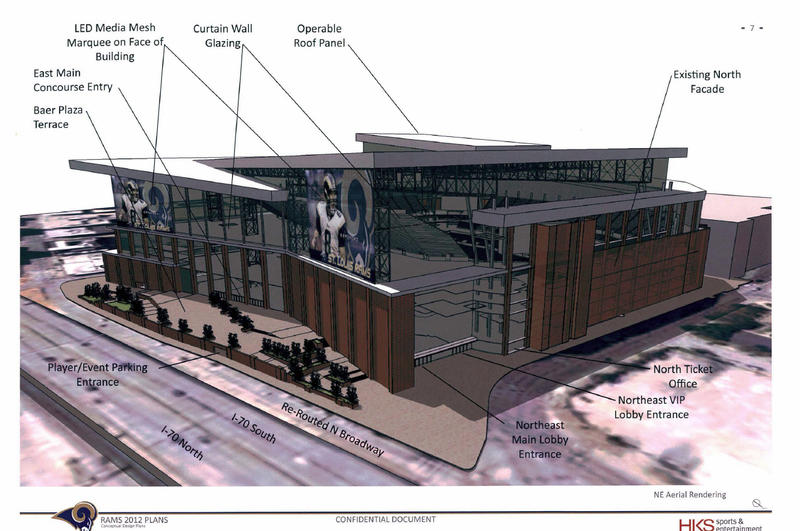 A look at an outdoor rendering of proposed changes to the Edward Jones Dome, home of the St. Louis Rams.