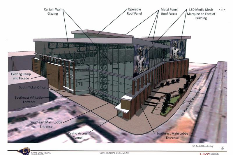 Another outdoor-view rendering of proposed changes to the Edward Jones Dome, home of the St. Louis Rams. For more photos, see the plans linked in the story below.
