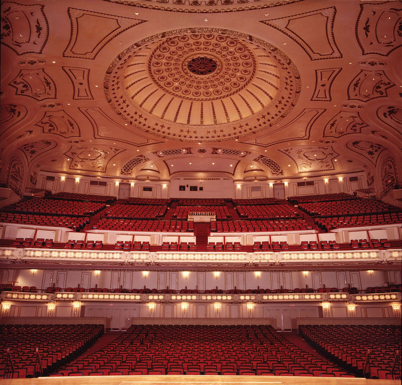 The auditorium as viewed from the stage at Powell Hall - home of the St. Louis Symphony.