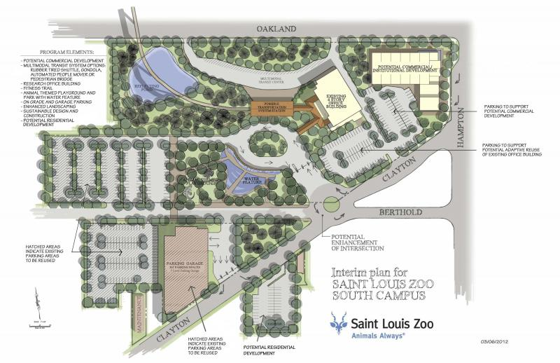 This artist's rendering shows potential expansion plans for the St. Louis Zoo on the 13.5-acre Forest Park Hospital site just south of Highway 40.