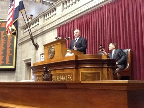Rush Limbaugh speaks at his Hall of Famous Missourians induction at the Missouri Capitol.