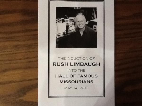 The program for the induction ceremony of Rush Limbaugh into the Hall of Famous Missourians.