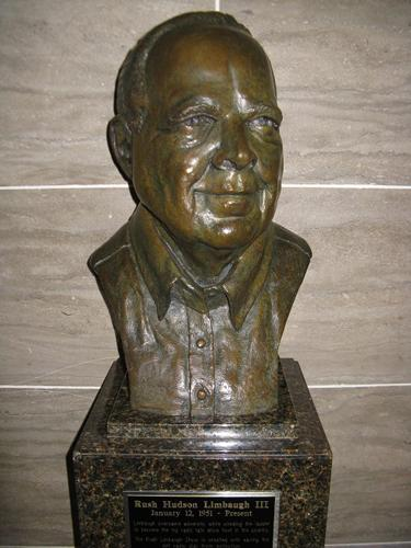 The bust of Rush Limbaugh on display in the Hall of Famous Missourians at the Mo. Capitol.