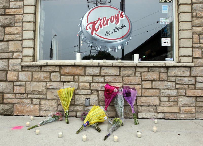 A makeshift memorial has been built at Kilroy's Sports Bar after an oversized tent injured 100 people, killing one after strong winds toppled a tent there after the St. Louis Cardinals game on April 28, 2012.