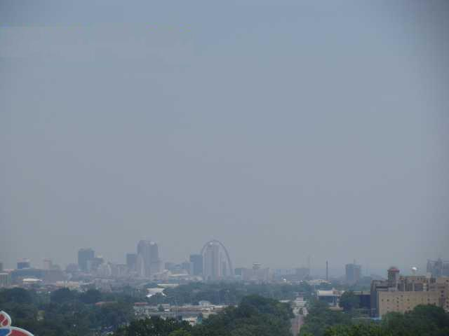 Air pollution is visible in this view of the St. Louis skyline.