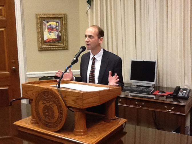 Mo. Auditor Tom Schweich (R) announces an agreement with the Mo. Bankers Association during a press conference on April 2 at his State Capitol office.