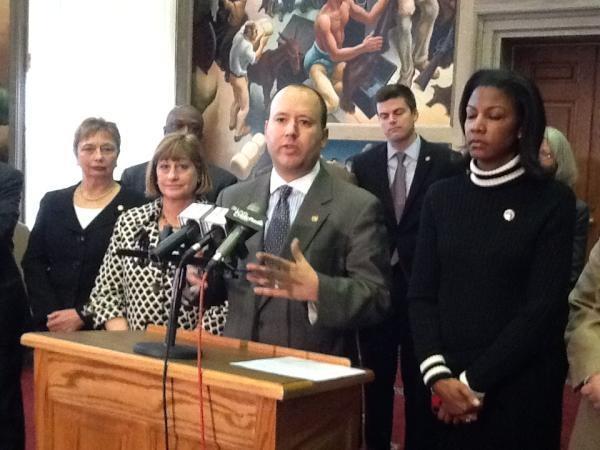 iPad photo of (l-r) Mo. House Minority Leader Mike Talboy (D, Kansas City) and Assistant Minority Leader Tishaura Jones (D, St. Louis).
