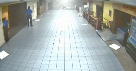 A screen capture of a video of the inside of the entrance of Terminal C at Lambert-St. Louis International Airport as a tornado descended on the building on April 22, 2011.