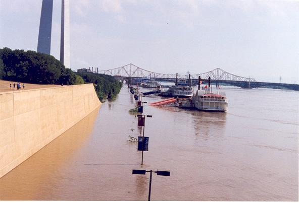 Flooding of the Mississippi River near the St. Louis Gateway Arch in August, 1993.