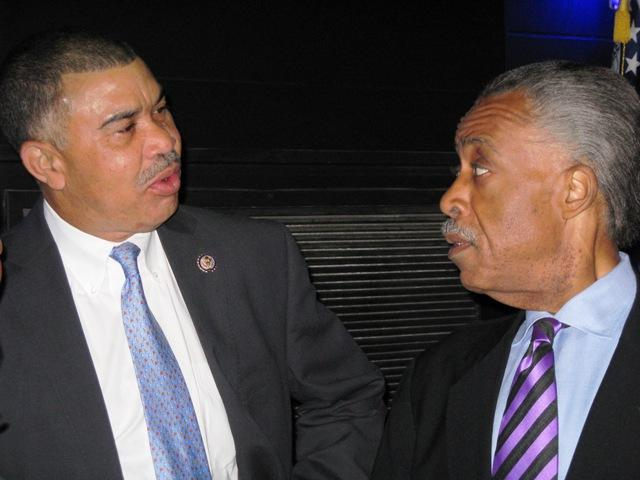 Rev. Al Sharpton and Congressman Lacy Clay spoke backstage before a voting rights forum at Harris-Stowe State University.