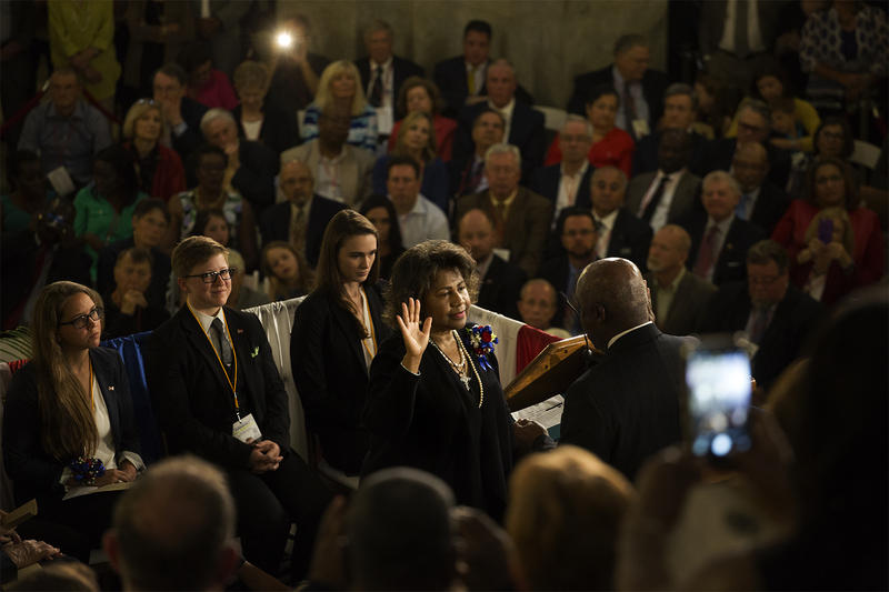 St. Louis Comptroller Darlene Green takes the oath of office during an inauguration ceremony at City Hall in April. (2017)