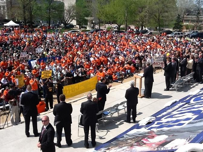 iPad photo of pro-labor union rally on March 27, 2012.  Gov. Jay Nixon (D) is addressing the crowd.