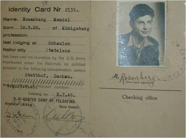 Mendel Rosenberg's passport.