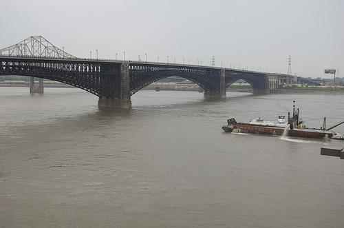 Eads Bridge connecting St. Louis and East St. Louis over the Mississippi River. The Mississippi River is the second-most toxic river in the United States.