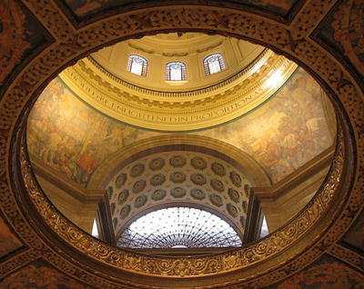 An interior view of the dome of the Missouri State Capitol.
