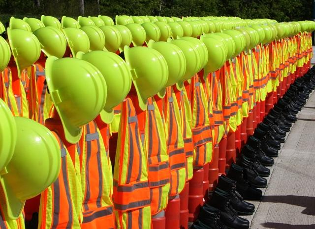 At a work zone ceremony Monday, this display honored the 130 road workers who have died on the job in Missouri since 1932.