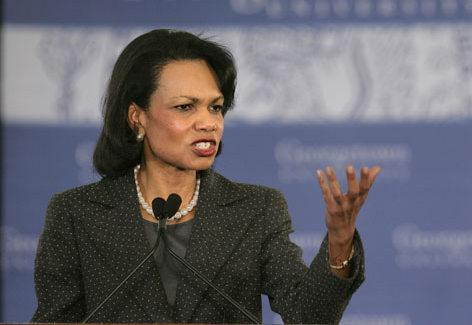 Secretary of State Condoleeza Rice gestures while speaking on