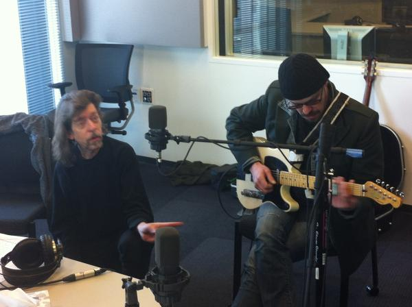 Fred Friction (l) and Jason Hutto (r) in the St. Louis Public Radio studios prepping for their interview/performance on Arch City Radio Hour.