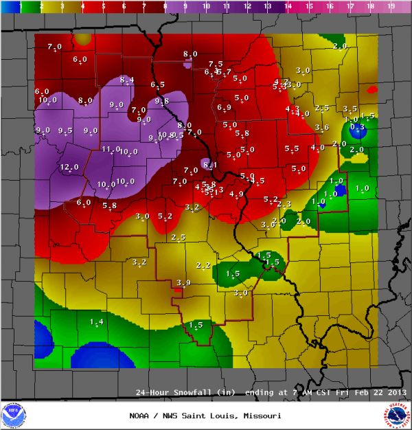 A very colorful look at the different amounts of snowfall in the region as of 7 a.m. CT on Feb. 22.