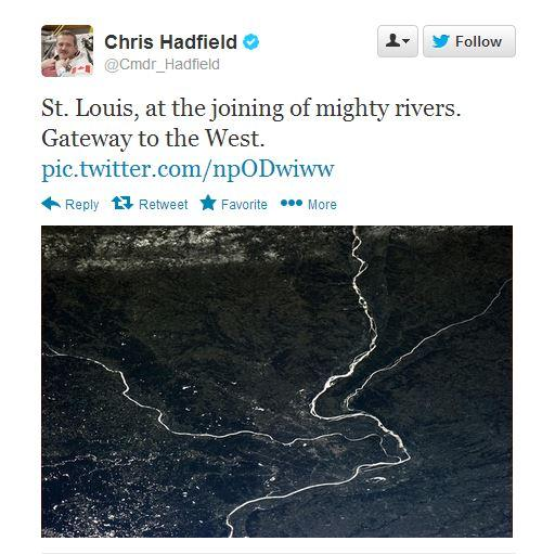 A screen capture of a tweet from Canadian astronaut Chris Hadfield. The image shows a view very high above St. Louis and was taken aboard the International Space Station in January 2013.