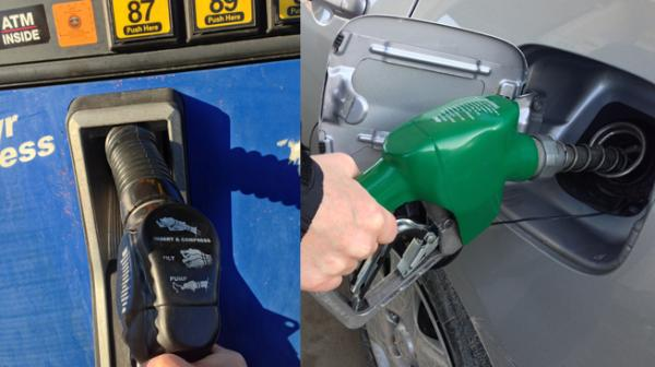 """Starting on March 15, gas stations in Franklin, Jefferson, St. Charles and St. Louis counties and the city of St. Louis can switch from vapor-capturing nozzles (black """"boot,"""" left) to ordinary nozzles (right)."""