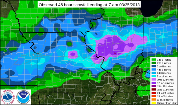 A look at overall snowfall across the region as of 7 a.m. on March 25, 2013.
