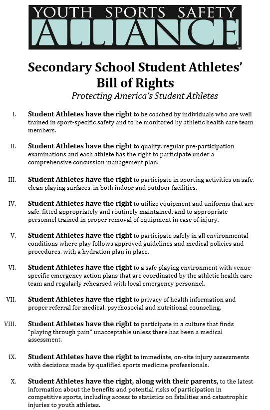 The Secondary School Student Athletes' Bill of Rights from the Youth Sports Safety Alliance