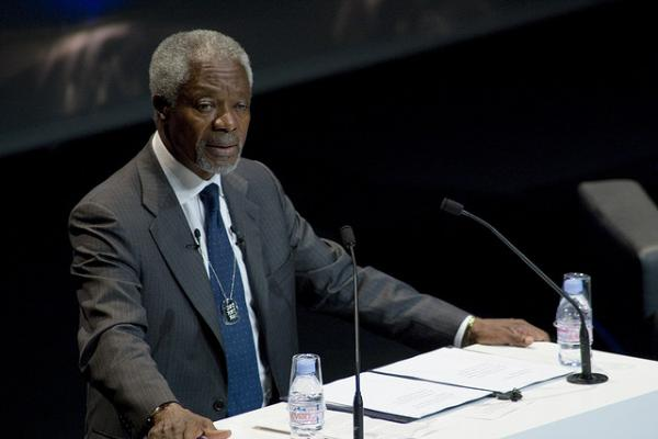 Former Secretary General of the United Nations, Kofi Annan, speaking in Cannes, France in 2009.