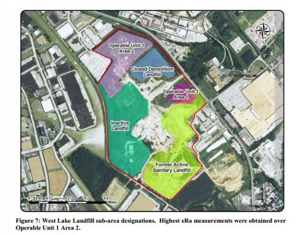 """A fire has been smoldering underground at the Bridgeton Landfill (labeled """"Former Active Sanitary Landfill"""" in this image) since late 2010. There is radioactive waste in the two purple regions labeled Operable Unit 1 Area 1 and Operable Unit 1 Area 2."""