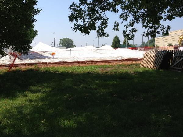 The Exploradome sits deflated at the Saint Louis Science Center on June 24, 2013.