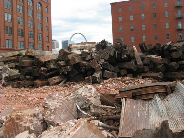 A view of what was left of Cupples 7 following demolition in 2013.