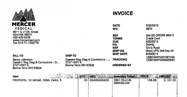 An invoice between Mercer Medical and the Mo. Dept. of Corrections.
