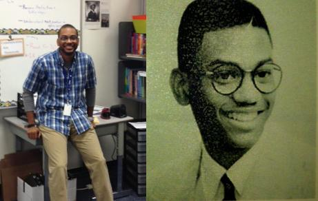 Neil Daniels, at left today, and, at right, in his Kirkwood High School identification card photo in the early 1990s.